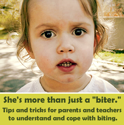 Children bite for many different reasons! Strategies to understand and cope with biting in the classroom, and at home.